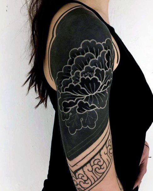 Jet Dark Black And White Ink Tattoo Womens Arms