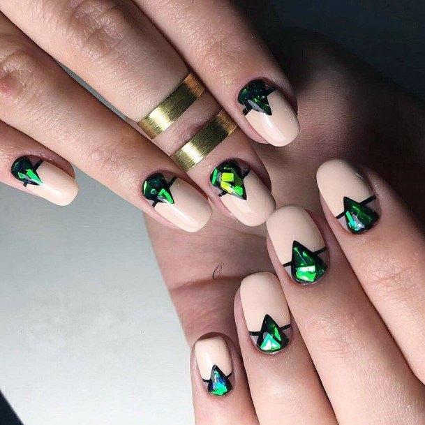 Jewelled Green On Transparent Glass Nail Women