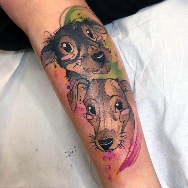 Joyful Dogs Tattoo For Women