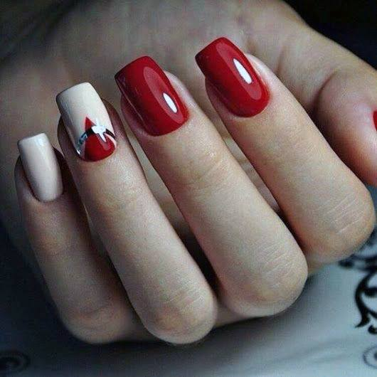 Juicy Bright Red Nails With White For Women