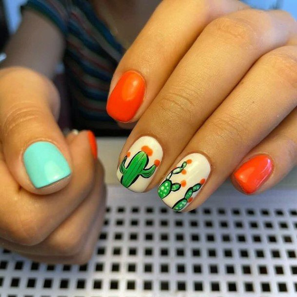 Juicy Orange Cactus Nails Women