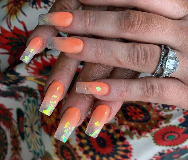 Juicy Orange Iridescent Nails Women
