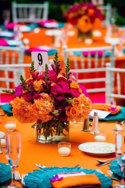 Juicy Orange Themed Dining Indian Wedding Flowers