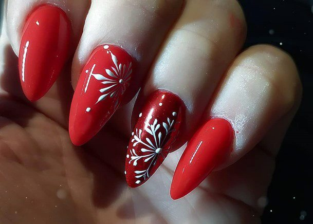 Juicy Red Nails With Snow Flake Art Women