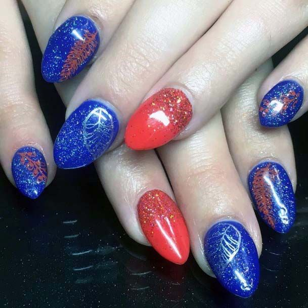 Juicy Royal Blue And Orange Nails For Women