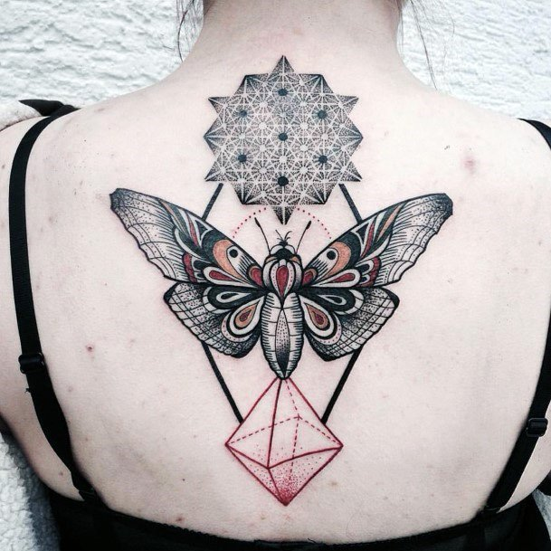 Kaleidoscope Butterfly And Pink Diamond Geometric Tattoo Womens Back