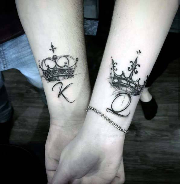 King And Queen Crown Tattoo Womens Ankles