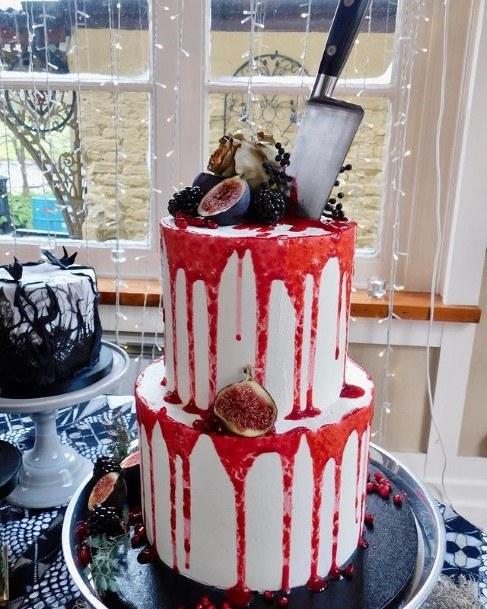 Knife And Blood Halloween Wedding Cake