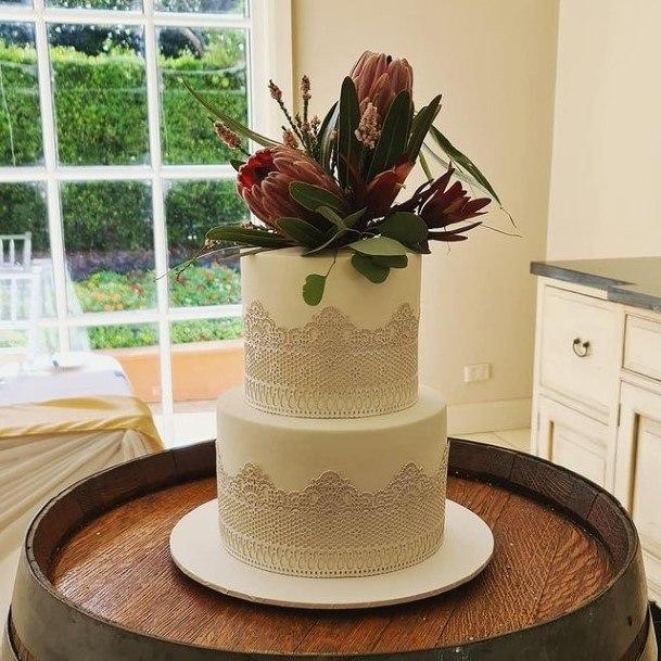Lace Art 2 Tier Wedding Cake