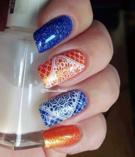 Lace Design Art On Blue And Orange Nails For Women