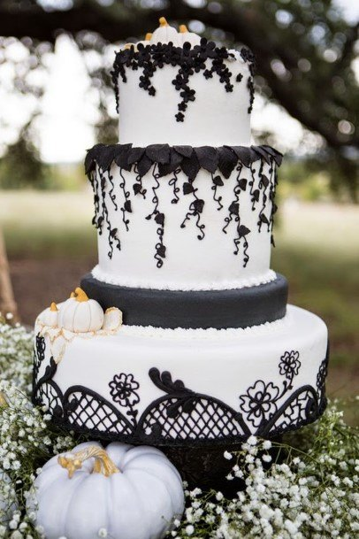 Laced Net Black And White Halloween Wedding Cake