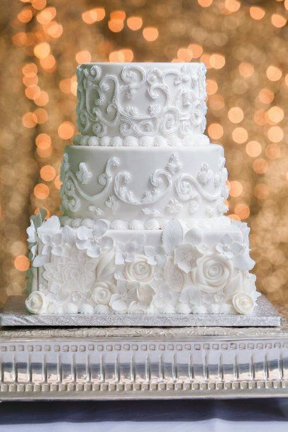Laced White Square Wedding Cake