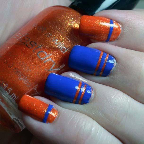 Lacquer Orange And Blue Nails For Women