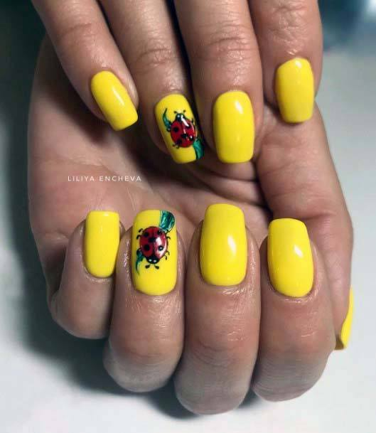 Ladybug On Bright Yellow Nails For Women