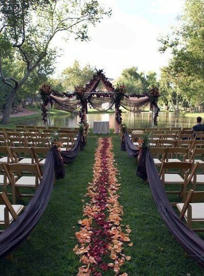 Lake Side Burgundy Orange And Purple Color Inspiration Fall Wedding Ideas
