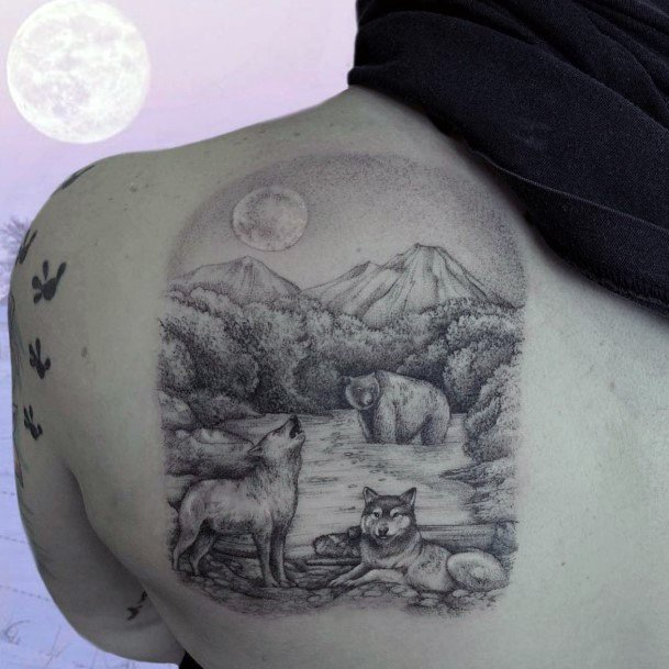 Landscape And Grey Bear Tattoo Womens Back