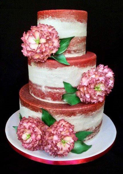 Large Blossoms Red Velvet Wedding Cake