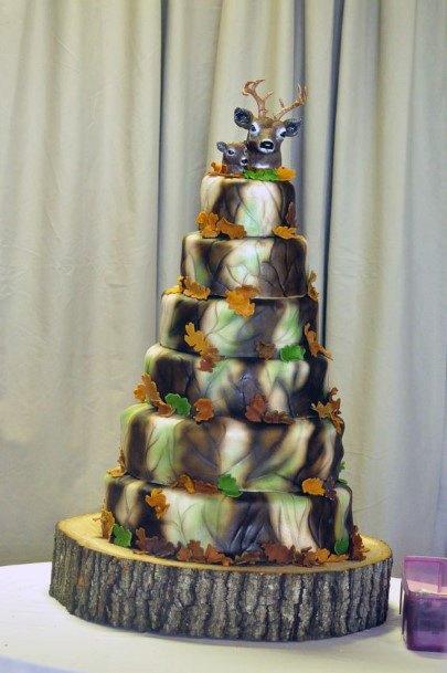 Large Camo Wedding Cake