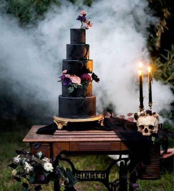 Large Dark Halloween Wedding Cakes