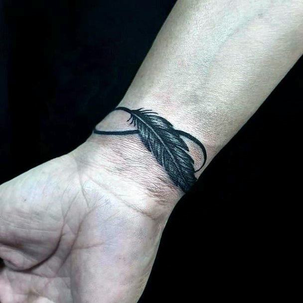 Large Grey Feather Infinity Tattoo