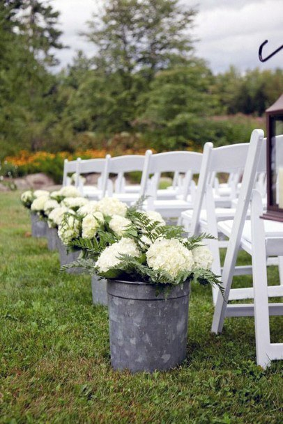 Large Mugs With Hydrangea Wedding Flowers Aisle