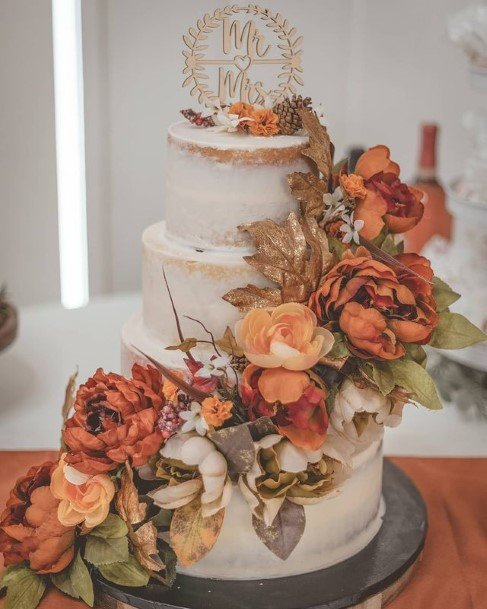 Large Orange Roses Rustic Wedding Cake Toppers
