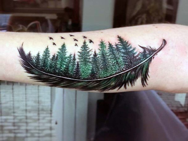 Large Pine Forest Feather Tattoo Women
