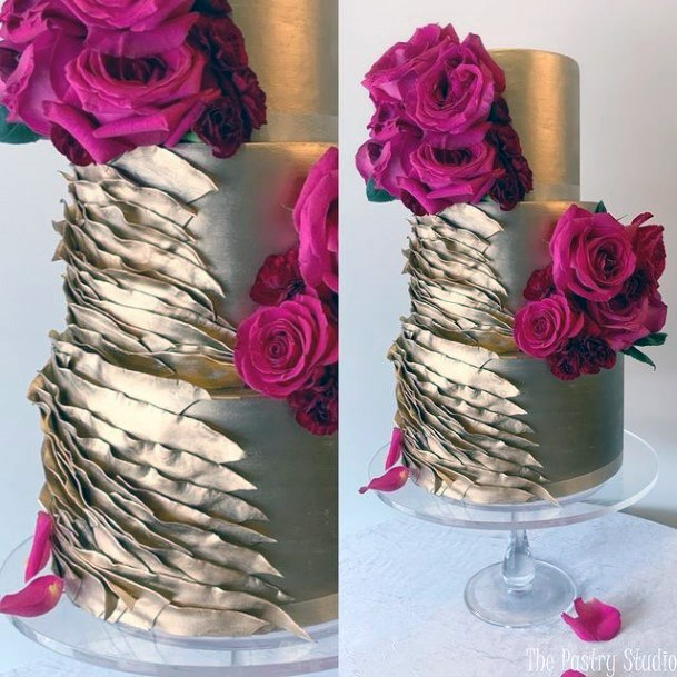 Large Pink Rose On Gold Wedding Cake
