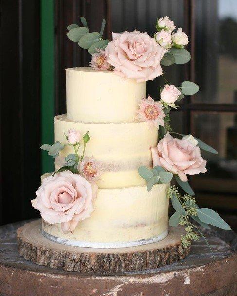 Large Pink Roses On Beautiful Wedding Cake