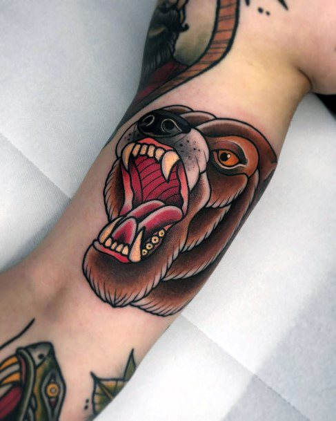 Large Tooth Bear Tattoo For Women Neo Traditional