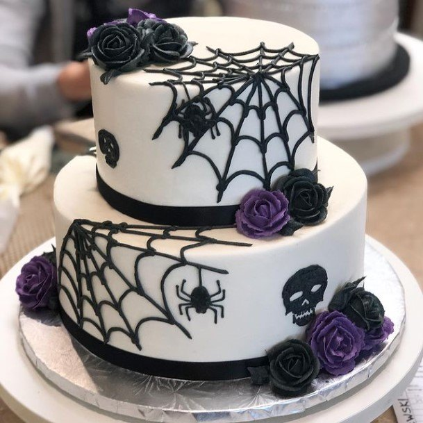 Large Webbed Spider And Purple Halloween Wedding Cakes