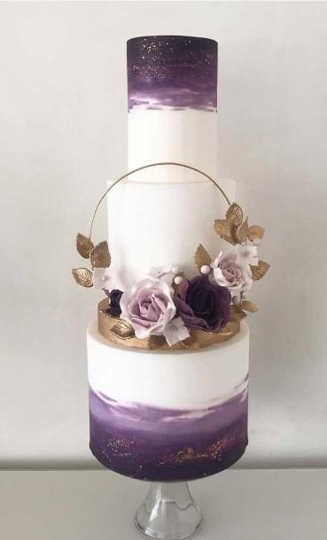 Large White And Purple Wedding Cake