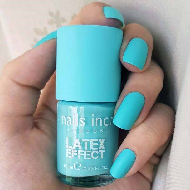 Latex Effect Bright Blue Nails For Women