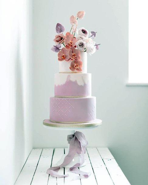Lavendar 3 Tier Wedding Cake Women