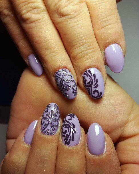 Lavendar Art On Sugared Nails Women