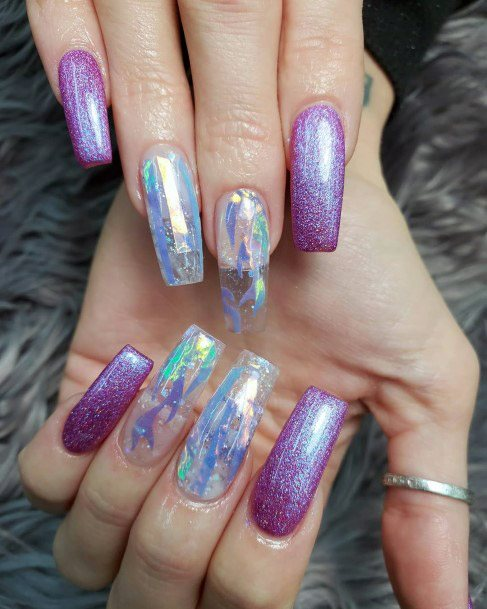 Lavendar Iridescent Nails Women