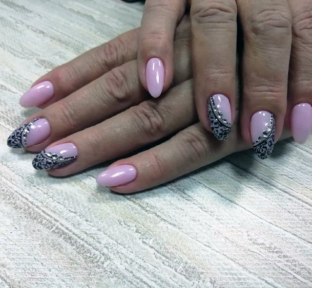 Lavendar Nail With Black Patterns And Rhinestone