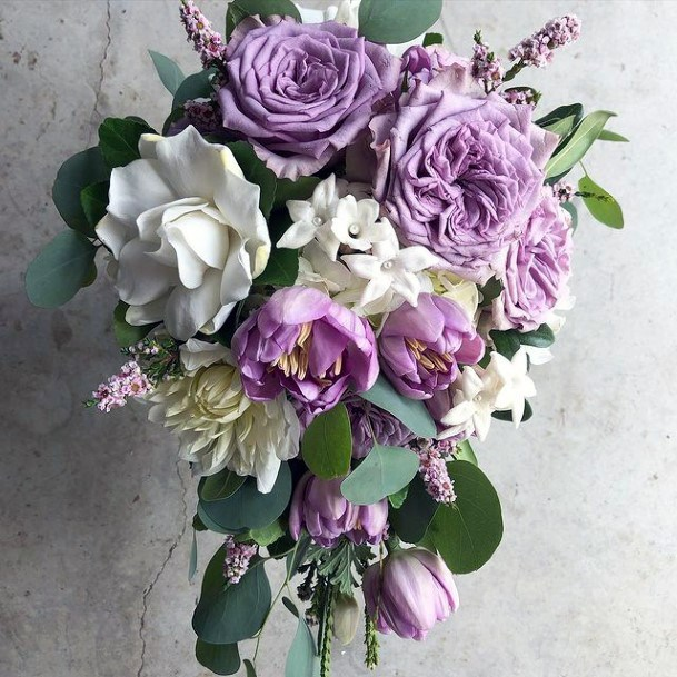Lavender And White Roses Wedding Flowers