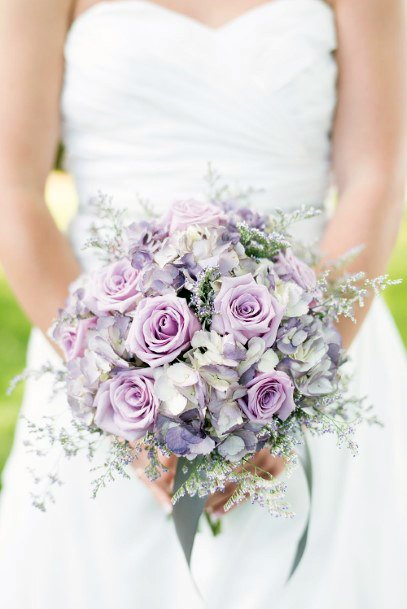 Lavender Color Infused Roses Bouquet Wedding Flowers