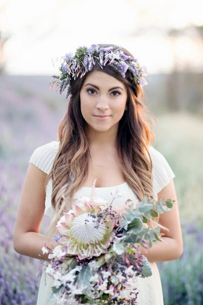 Lavender Flower Bouqet And Head Band Wedding