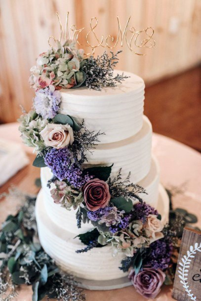 Lavender Flowers Wedding Cake