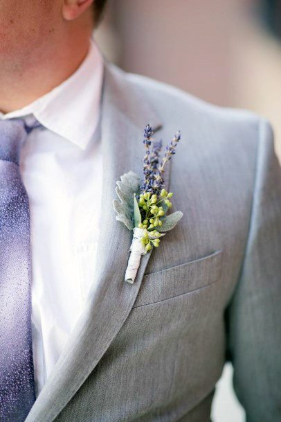 Lavender Wedding Flower Brooch Man