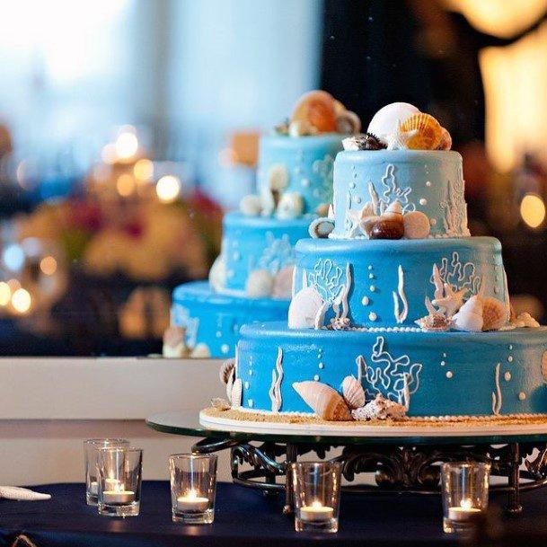 Layered Blue Beach Wedding Cake Women