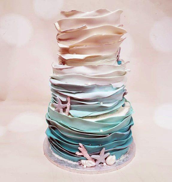 Layered Cream Beach Wedding Cake Women
