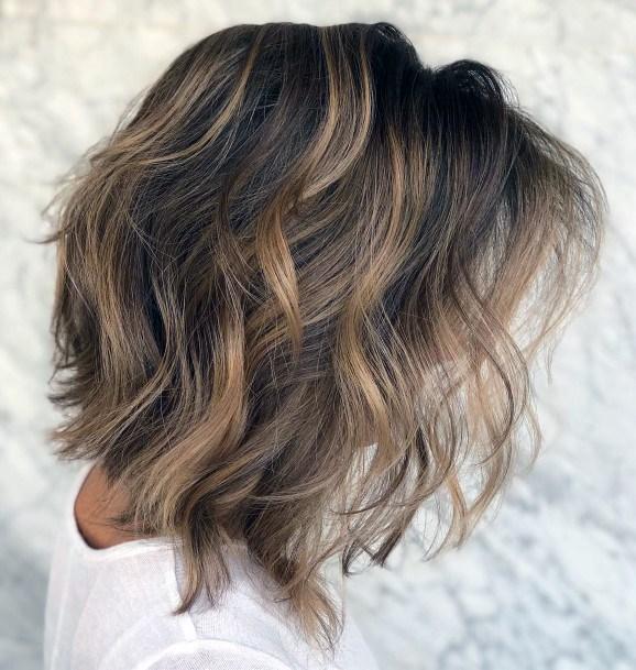 Layered Short Wavy Hair Women