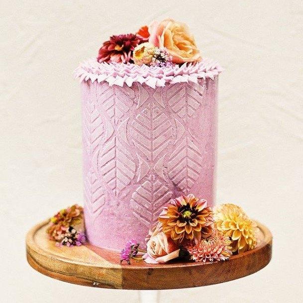 Leaf Embossed Purple Wedding Cake