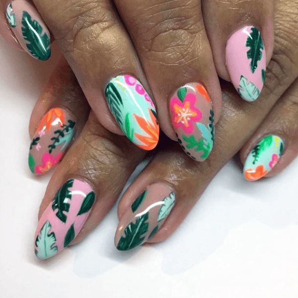 Leaf Painted Tropical Nails Women