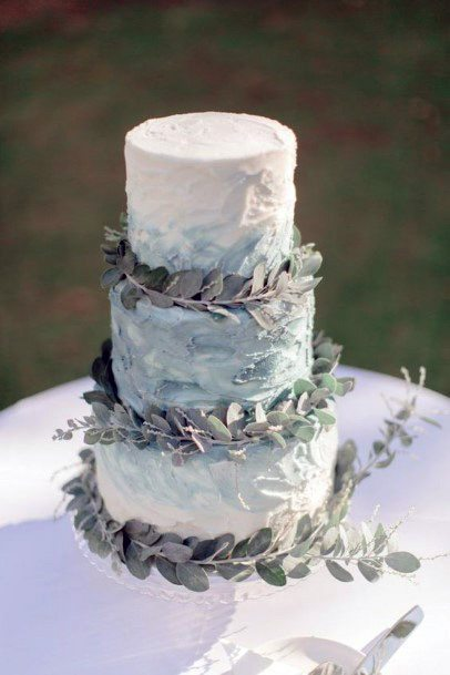 Leafy Blue Wedding Cake