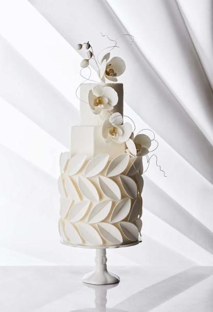 Leafy Embossed White Wedding Cake