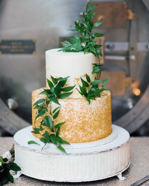 Leafy Golden White Wedding Cake